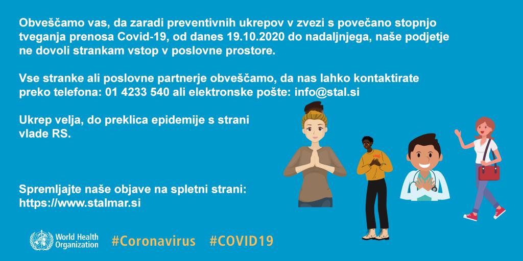 Obvestilo o prepovedi vstopa v poslovne prostore zaradi preventivnih ukrepov COVID-19